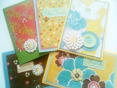 Five Assorted Cards Yellow Blue & Pink Floral by MayQueenCrafts, $12.00