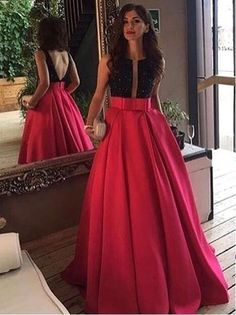 Newest Elegant Prom Dress Scoop Black-Red Evening Dresses Sleeveless Open Back Long Prom Evening Dresses Custom Made