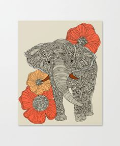 East Urban Home The Elephant with Flowers I by Valentina Harper Graphic Art on Wrapped Canvas Size: Animal Print Decor, Animal Prints, Elephant Canvas, Elephant Stuff, White Elephant, Playroom Decor, Decor Room, Dot And Bo, Nursery Art