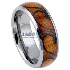 Tungsten Carbide Hawaiian Koa with Black Plated Wave Design Inlay Domed Ring Band Tungsten Wedding Rings, Tungsten Carbide Rings, Wave Design, Laser Engraving, Rings For Men, Hawaiian, Waves, Rust Free, Wooden Rings