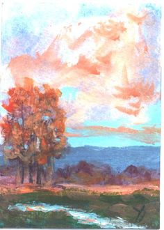 ACEO  Stream In Autumn aceo painting by Jim by jimsmeltzgallery, $20.00