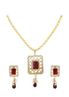 CZ party Wear Girls Red Stone Indian Bollywood Ethnic Gold Plated Necklace Set #natural_gems15