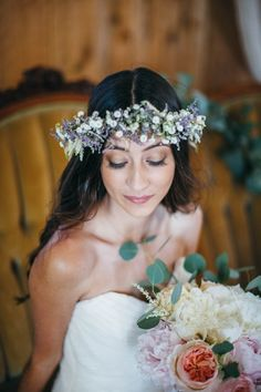 Lavender and baby's breath floral crown | Firm Anchor Photography