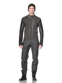 Rick Owens DRKSHDW - Twill Jacket with Leather Sleeves