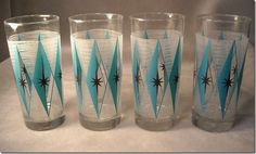 Vintage Turquoise Diamond and Starburst Drinking Glasses