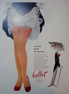 1953 BALLET Stockings NYLONS Wolf Gent Does Double Take HOSIERY Vintage Print Ad