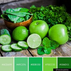Green | Healthy Living | Foodie |Color Palette Inspiration. | Digital Art Palette And Brand Color Palette.