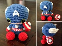 Amigurumi Captain America by SanneMarije on DeviantArt : Amigurumi Capitán América por SanneMarije Amigurumi Tutorial, Crochet Amigurumi, Amigurumi Doll, Amigurumi Patterns, Crochet Dolls, Crochet Patterns, Love Crochet, Learn To Crochet, Crochet Baby