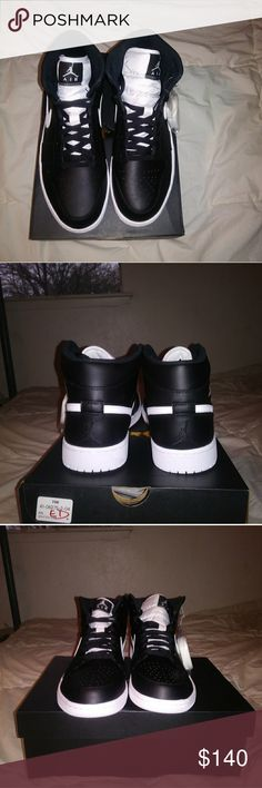 AIR JORDAN 1 MID BLACK AND WHITE They are black and white new and never worn size 10.5 Jordan Shoes Sneakers
