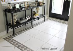 How to paint tile floors. front entrance.