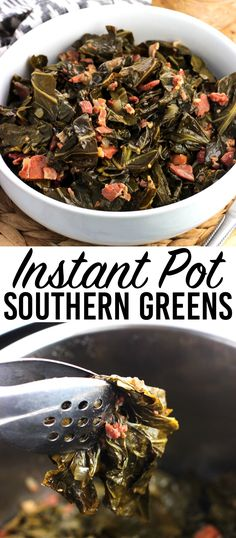 Instant Pot collard greens are a Southern-inspired side dish made much quicker in an electric pressure cooker. These Southern greens have a ton of flavor from bacon and ham and youll want to drizzle the cooking liquid on everything! via Alyssa Instant Pot Pressure Cooker, Pressure Cooker Recipes, Pressure Cooking, Slow Cooker, Instant Pot Dinner Recipes, Side Dish Recipes, Side Dishes, Instant Pot Collard Greens Recipe, Collard Greens And Spinach Recipe