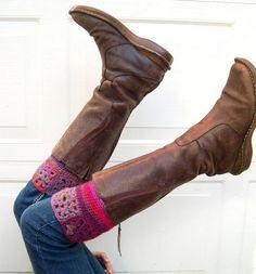 Crochet Boot cuffs  colorful boot cuffs  boot