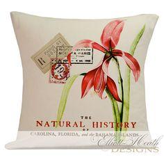 Antique Botanical Print Document Burlap Cotton Tropical Throw Pillow Cover FR-104