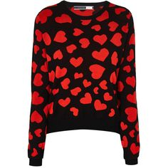 Sportmax Code Girone Heart Sweater found on Polyvore featuring tops, sweaters, black, heart sweater, pattern sweater, print crop top, red top and red crop top