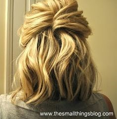 An easy way to make second day hair look cute! Curl it on day 1, pin it on day 2 (don't forget your dry shampoo!)