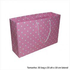 Sacola de papel para presentes rosa de bolinha branca