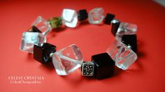 15%OFF Sale! CÉLEST Crystals Black Onyx Clear Quartz Crystal & Green Garnet Cubes Sterling Silver Bracelet U$101 Click link the Buy It Now! - https://www.etsy.com/shop/CELESTbyCelestChong