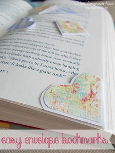 Easy Envelope Bookmarks- just cut off the corner (in different shapes) and decorate it.
