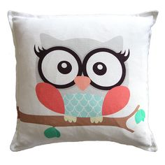 Cushion Cover - Girl Owl on White