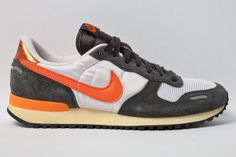 Nike Air Vortex  a mixture of high-voltage and faux-vintage, with orange highlights dominating the washed-out upper. Blended with silky nylon, anthracite suede and a yellowed midsole, this is one killer combo.