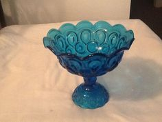 Vintage Blue  Glass Dish Carved In Beautiful by FELVERSFEVER, $13.99