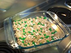 Homemade cherio treats! 3 cups of Cheerios, 3 cups of marshmallows, 1 1/2 tablespoons of butter( used coconut oil healthier) melt butter and marshmellows in a pan over low heat until melted. Mix with Cheerios. Spread in pan! Cover with sprinkles and powdered sugar! Delicious and so easy!