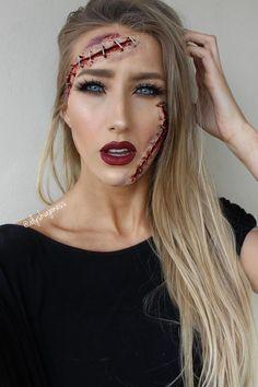 Halloween Party Cut-up & Stapled Face Makeup Idea