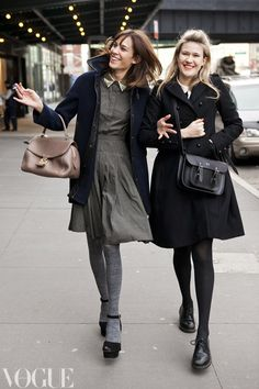 Alexa Chung and Tennessee Thomas on the streets of New York during fashion week.  Image by Candice Lake