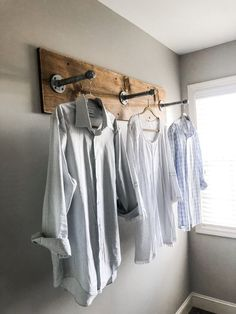 DIY Clothes Rack for Your Laundry Room with Industrial Pipes and Wood By Wilshi . DIY Clothes Rack for Your Laundry Room with Industrial Pipes and Wood By Wilshire Collections Home Decor Ideas, Farmhouse, Farmhouse Decor, Decorating. Laundry Room Organization, Laundry Room Design, Laundry Decor, Organization Ideas, Clothing Organization, Laundry Room Remodel, Basement Laundry, Farmhouse Laundry Rooms, Shower Remodel
