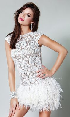 Short Illusion Lace & Feather Dress by Jovani