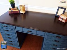 Lovin' this desk top!  Shabby Roots Boutique, http://Shabbyroots.com/, used GF Java Gel Stain to get that wonderful rich color.  You can find your favorite GF products at Woodcraft, Rockler Woodworking stores or Wood Essence in Canada. You can also use your zip code to find a retailer near you at http://generalfinishes.com/where-buy#.UvASj1M3mIY.  #generalfinishes #javagel #onecoatwonder