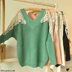 Very pretty shoulder design on this sweater. And I love the V-neck front and back. Very chic ^_^