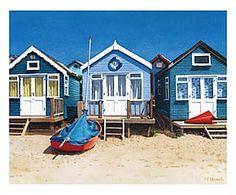Toile sur châssis BLUE BEACH HUTS, bleu et rose - 50*40