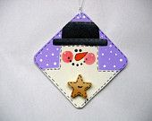 Tole Painted White Snowman with Black Hat Patch Christmas Ornament Hand Painted