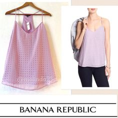 Banana Republic Perforated Tank Top  Beautiful Banana Republic Perforated Tank Top  100% Polyester  Machine Wash  Imported  V-neck sleeveless Racer-back styling  Rounded hem Please no trades or pp. Color: light purple Banana Republic Tops Tank Tops