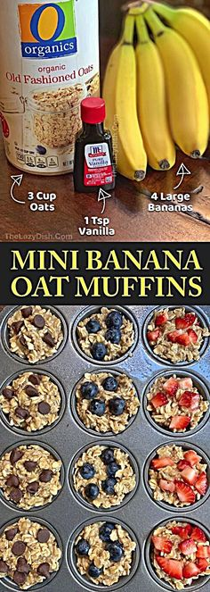 Healthy Banana Oat Muffins Ingredients) – The Lazy Dish – Looking for easy healthy snacks for kids to make? These on the go banana oat muffins are perfect fo – - Healthy Banana Oat Muffins Ingredients) - The Lazy Dish - Looking for easy h. Low Carb Meal, Healthy Meal Prep, Healthy Breakfast Recipes, Healthy Snacks To Buy, Healthy Recipes For Kids, Healthy Muffins For Kids, Healthy Drinks, Nutrition Drinks, Healthy Eating For Kids
