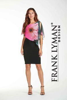 Frank Lyman 2017. Stunning floral dress with flattering asymmetrical overlay. Proudly Made In Canada