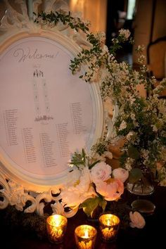 Brides on a Budget: Making or buying place cards can be really expensive (and also time consuming), so instead, opt for the seating chart idea. And to make this even more affordable, this chart is housed in the Ung Drill Ikea frame!