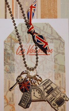 London Themed Shrink Plastic Necklace - Big Ben - Bus - Telephone booth