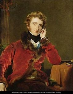 Portrait of George James Welbore Agar-Ellis, 1823-4, by Sir Thomas Lawrence (1769-1830). A sumptuous fur-trimmed velvet jacket.