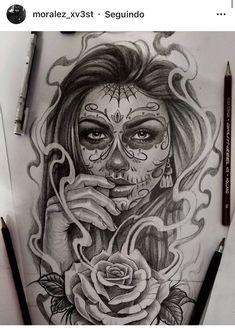 Pin Up Girl Tattoo, Girl Tattoos, Aztec Warrior Tattoo, Los Muertos Tattoo, Lowrider Tattoo, Chicanas Tattoo, Catrina Tattoo, Girl Face Drawing, Dragon Ball Gt
