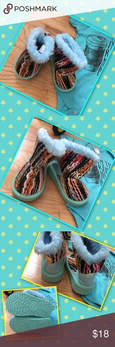"Rainbow Tapestry Boots 1/2 off sale! It's snugly and warm for the petite feet. Faux fur lined boot with dazzling tapestry for a trendy boot! 3"" shaft, 9"" circumference, pull on. They're perfect ! THESE ARE SUCH GREAT QUALITY!  🎈🎈 SEE  closet for SUPER SALE DETAILS For 1/2 off prices on ENTIRE on sale Closet! Shoes Boots"