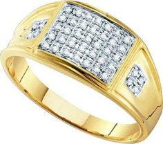 10KT Yellow Gold 0.27CTW MICRO-PAVE DIAMOND . RING