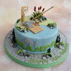 Fishing Birthday Cake Fish Cake Birthday, Boy Birthday Parties, Fisherman Cake, Beach Cakes, Angler Fish, Cake Gallery, Cakes For Boys, Cake Ideas, Christmas Ideas