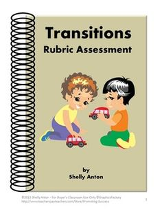 """Here are two rubric assessments for making transitions. The first rubric may be used by the teacher to assess the students' skills in noise level, efficiency, materials clean up, and timeliness. The assessment is on a four point scale. The second assessment is the student version of the first assessment and uses """"I"""" statements."""