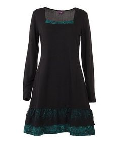 Look what I found on #zulily! Black Paisley-Accent Square Neck A-Line Dress #zulilyfinds