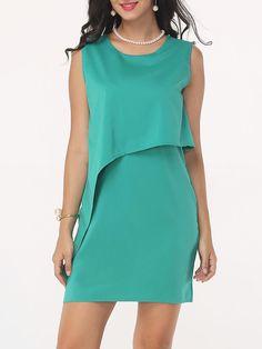 #Fashionmia - #Fashionmia Plain Women's Round Neck Shift-dress - AdoreWe.com