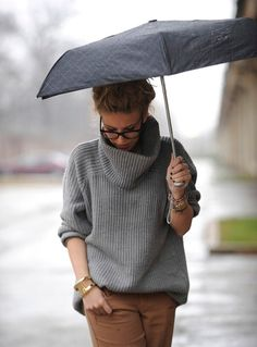 messy bun . grey knit . warm . nerd classes . gold bracelet . black polish