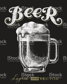 Vector illustration of chalk beer glass on blackboard. Vector illustration of chalk beer glass on blackboard. Each elements are grouped separately , Blackboard Drawing, Blackboard Art, Creative Poster Design, Creative Posters, Chalkboard Doodles, Beer Quotes, Beer Art, Chalk Lettering, How To Write Calligraphy