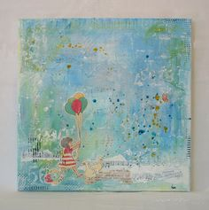 Scrapbook page potential- paint splatters & girl with balloons, Macaulay Arts